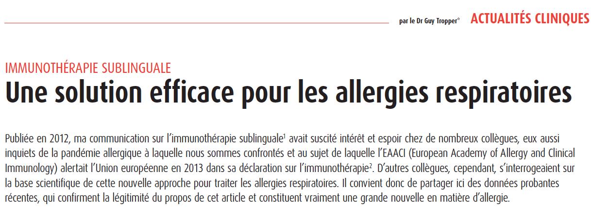 avantgarde medical Publication du Dr Tropper sur l'immunothérapie sublinguale dans l'Actualité Médicale